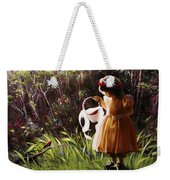 Girl With Basket Of Roses Weekender Tote Bag