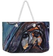 Girl With Cat And Moon Weekender Tote Bag