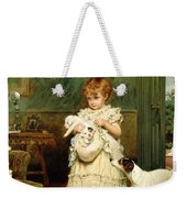Girl With Dogs Weekender Tote Bag by Charles Burton Barber