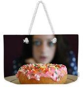 Girl With Doughnut Weekender Tote Bag by Linda Woods