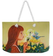 Girl With Flower Weekender Tote Bag