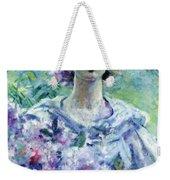 Girl With Flowers Weekender Tote Bag