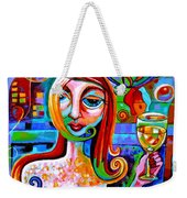 Girl With Glass Of Chardonnay Weekender Tote Bag