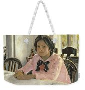 Girl With Peaches Weekender Tote Bag by Valentin Aleksandrovich Serov