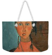 Girl With Pigtails Weekender Tote Bag by Amedeo Modigliani