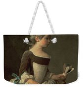 Girl With Racket And Shuttlecock Weekender Tote Bag by Jean-Baptiste Simeon Chardin