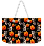 Girl With Roses And Anchors Black Weekender Tote Bag