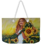 Girl With Sunflowers Weekender Tote Bag