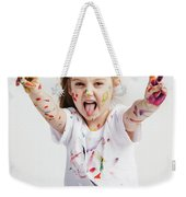 Girl With Victory Sign Sticking Out Her Tounge Weekender Tote Bag