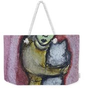 Girl With White Cat Weekender Tote Bag