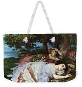 Girls On The Banks Of The Seine Weekender Tote Bag by Gustave Courbet
