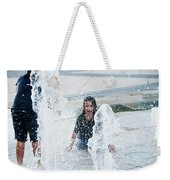 Girls Playing In Fountain  Weekender Tote Bag
