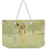 Girls Strolling In An Orchard Weekender Tote Bag