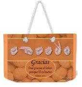 Give Thanks Spanish Weekender Tote Bag