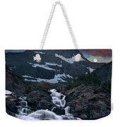 Glacier Morning Waterfall And Moonset Weekender Tote Bag