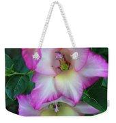 Gladiolas Blooming With Ripening Blueberries Weekender Tote Bag