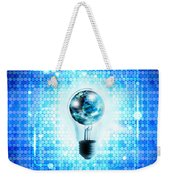 Globe And Light Bulb With Technology Background Weekender Tote Bag by Setsiri Silapasuwanchai