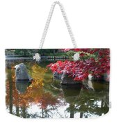 Glorious Fall Colors Reflection With Border Weekender Tote Bag by Carol Groenen