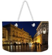 Glossy Outdoor Living Room - Passeggiata On Piazza Duomo In Syracuse Sicily Weekender Tote Bag