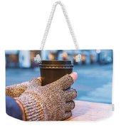 Gloved Hands Holding Coffee Cup Weekender Tote Bag