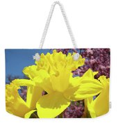 Glowing Yellow Daffodils Art Prints Pink Blossoms Spring Baslee Troutman Weekender Tote Bag