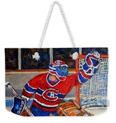 Goalie Makes The Save Stanley Cup Playoffs Weekender Tote Bag