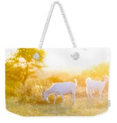 Goats Grazing In Field Weekender Tote Bag