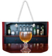 Goblet Of Refreshing Golden Beer On Shiny Dining Table Weekender Tote Bag
