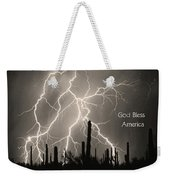 God Bless America Bw Lightning Storm In The Usa Desert Weekender Tote Bag by James BO  Insogna