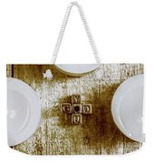God Is You Metal Lettering Typography Near White Candles, Faith  Weekender Tote Bag