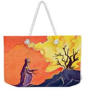 God Speaks To Moses From The Burning Bush Weekender Tote Bag by Elizabeth Wang