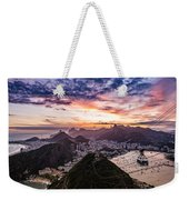 Going Up The Cable Car In Rio De Janeiro Weekender Tote Bag