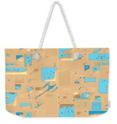 Gold And Aqua Mid-century Modern Weekender Tote Bag