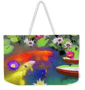 Gold Fish And Water Lily Pads Weekender Tote Bag