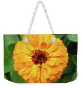 Gold Flower Weekender Tote Bag