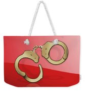 Gold Handcuffs On Red Weekender Tote Bag