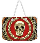 Gold Human Skull Over White Leather  Weekender Tote Bag