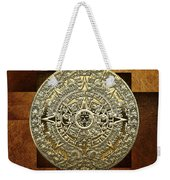 Gold Mayan-aztec Calendar On Brown Leather Weekender Tote Bag
