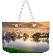 Gold Sunset At The Lake Weekender Tote Bag