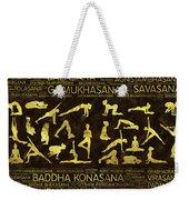 Gold Yoga Asanas / Poses Sanskrit Word Art  Weekender Tote Bag