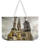 Golden Angel Statues In Front Of The Cathedral Weekender Tote Bag