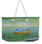 Golden Boat In The Green Lagoon Weekender Tote Bag