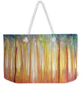 Golden Forest Hidden Unicorn - Large Original Oil Painting By Gill Bustamante Weekender Tote Bag