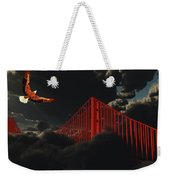 Golden Gate Bridge In Heavy Fog Clouds With Eagle Weekender Tote Bag