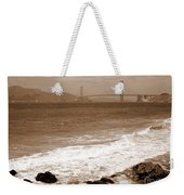 Golden Gate Bridge With Shore - Sepia Weekender Tote Bag