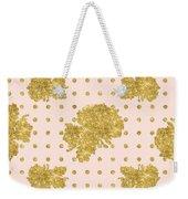 Golden Gold Blush Pink Floral Rose Cluster W Dot Bedding Home Decor Weekender Tote Bag