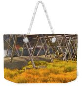 Golden Gras And Fish Drying Rack Weekender Tote Bag by Heiko Koehrer-Wagner