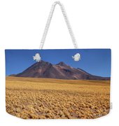 Golden Grasslands And Miniques Volcano Chile Weekender Tote Bag