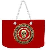 Golden Human Skull On Red   Weekender Tote Bag