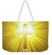 Golden Latin Cross With Sunbeams Weekender Tote Bag